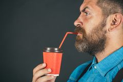 Full of energy. mature hipster drink coffee. Good morning coffee. male with beard. brutal bearded man with take away. Coffee. Enjoying Sunday morning, copy stock photo