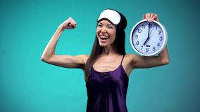 Full of energy woman wake up early in morning, healthy lifestyle, sleeping value. Stock photo royalty free stock photography