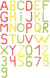Full English alphabet and numbers of  colors candy Royalty Free Stock Images