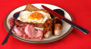 Full English Breafast. A tasty plate of fried food for breakfast royalty free stock photography