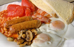 Full English Breakfast. With sausages tomatoes eggs and beans etc Stock Image