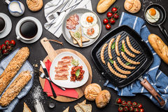 Full english breakfast on black chalkboard background Royalty Free Stock Photo
