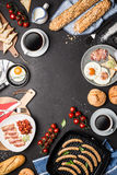 Full english breakfast on black chalkboard background Royalty Free Stock Images
