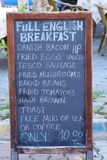 Full English Breakfast Menu Board. A menu board detailing the availability of a Full English Breakfast with a price indicating 10 Turkish Lira Stock Image