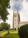 Full english summer scene of church in long melford front tower. England; UK Royalty Free Stock Photography
