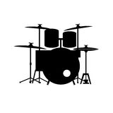 Full equipped drum kit vector. Vectored illustration as silhouette of full equipped drum kit with snares, toms, ride and splash plates as well as bass tom and Stock Photography
