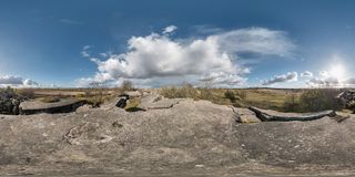 Full 360 equirectangular spherical panorama as background. Approaching storm on the ruined military fortress of the First World stock photo