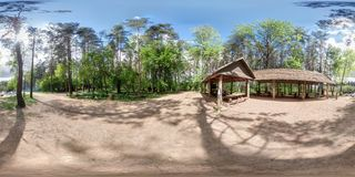 Full 360 equirectangular spherical panorama in guerrilla camp in Belarus as skybox background for VR content. Full 360 equirectangular spherical panorama in stock photography