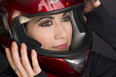 Full Face Helmet on Confidant Woman Rider Stock Photography