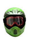 Full face cycling helmet with goggles for extreme stock images