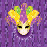 Full Face Mask. Decorative full face carnival mask with jolly hat Royalty Free Stock Images