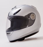 Full Face Motorcycle Helmet. Silver Full face motorcycle helmet Stock Images