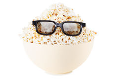 Full face Smiling Monster of popcorn, glasses. Isolated on white Royalty Free Stock Photo