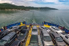 A full ferry boat crossing, Quebec royalty free stock photos