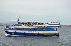 A Full Ferry Boat - Passengers water transport Commuting Royalty Free Stock Image