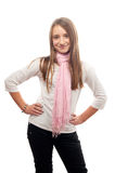 Full figure of the beautiful smiling teenage girl Stock Photo