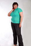 Full Figured. Full length plus size black model smiling stock images
