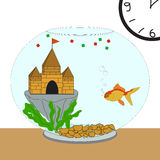 Full Fish Bowl. Comfortable gold fish in the full bowl Royalty Free Stock Image