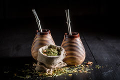 Full of flavor yerba mate with calabash and bombilla Stock Image