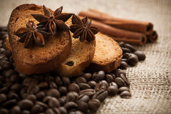 Full-flavored crackers with roasted coffee beans Royalty Free Stock Photo