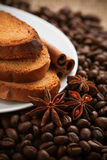 Full-flavored crackers with roasted coffee beans Stock Photo