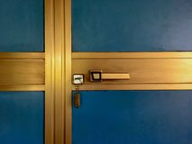 Gold and Blue door stock image