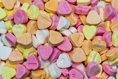 Full frame candy hearts Stock Photos