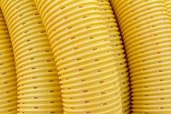 Yellow drainage pipe Stock Photo
