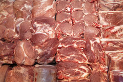 Full Frame Of Fresh Raw Meat On Market Place. Closeup Stock Photo