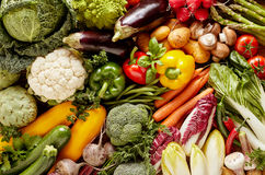 Full frame of fresh vegetables. Pile of great variety of fresh organic vegetables. Full frame food background concept Stock Images