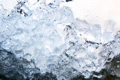 Full frame ice background, frozen water, blue stock image