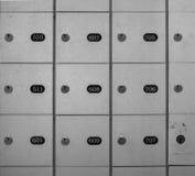Full frame of lock boxes locker safety deposit box Stock Image