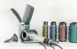 Full frame of professional hairdresser tools on white background. royalty free stock photography