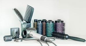 Full frame of professional hairdresser tools on white background. stock photo