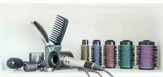 Full frame of professional hairdresser tools on white background. stock photos