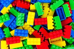 Full frame shot of colorful toy building blocks. Business and education concept royalty free stock photo