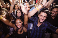 Full frame shot of crowd at nightclub. During music festival Stock Photos