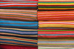Full frame shot of multicolored fabric bolts Royalty Free Stock Photos