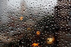 Full Frame Shot of Raindrops on Glass Window Stock Image