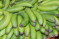 Full frame shot of ripe, green yellow bananas. Ripe, green yellow bananas in a basket. Portuguese island of Madeira stock image