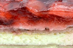 Full frame of Strawberry cake piece with jelly and quark.  Stock Photo