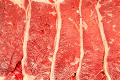 Full frame texture of raw flat iron steaks