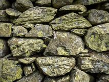 Dry Stone Wall texture. Full frame texture of a traditional British dry stone wall as is typically found in Wales and the North of England Royalty Free Stock Photos