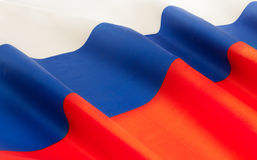 Full framed Russian Federation silky ruffled flag. Full framed Russian Federation silky flag floating in the wind Stock Photos