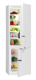 Full of fresh food refrigerator. Two door refrigerator isolated on white Royalty Free Stock Images