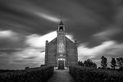 Full frontal BW. Little church in the Netherlands Stock Photos