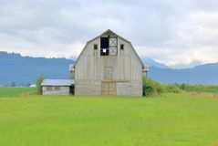 Vintage North American Traditional Barn. Full frontal view of a traditional North American barn that stands in front of rich, green grassland stock photography