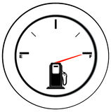 Full fuel gauge. Vehicle fuel gauge with arrow pointing to full - illustration Royalty Free Stock Photos