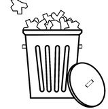 Full garbage can. Outline of garbage with filled to the top with garbage - vector Stock Photo