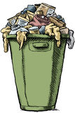Full Garbage. A cartoon garbage bin, full and overflowing with garbage Stock Photography